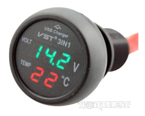[VST 706-1] Вольтметр-Термометр c USB портом Зеленый в прикуриватель авто