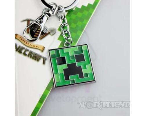 "Брелок ""Minecraft"" игры майнкрафт стальной Крипер / Creeper моб-камикадзе"