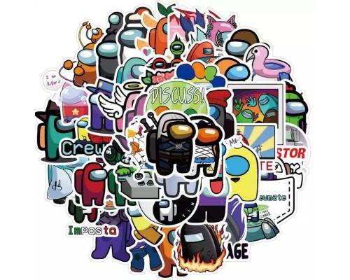 Стикеры Among Us (Среди нас) 50шт/набор наклейки сет пак игры телефон